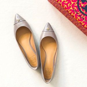 Tory Burch Grey Fairford Flats Pointed Cap Toe 6.5